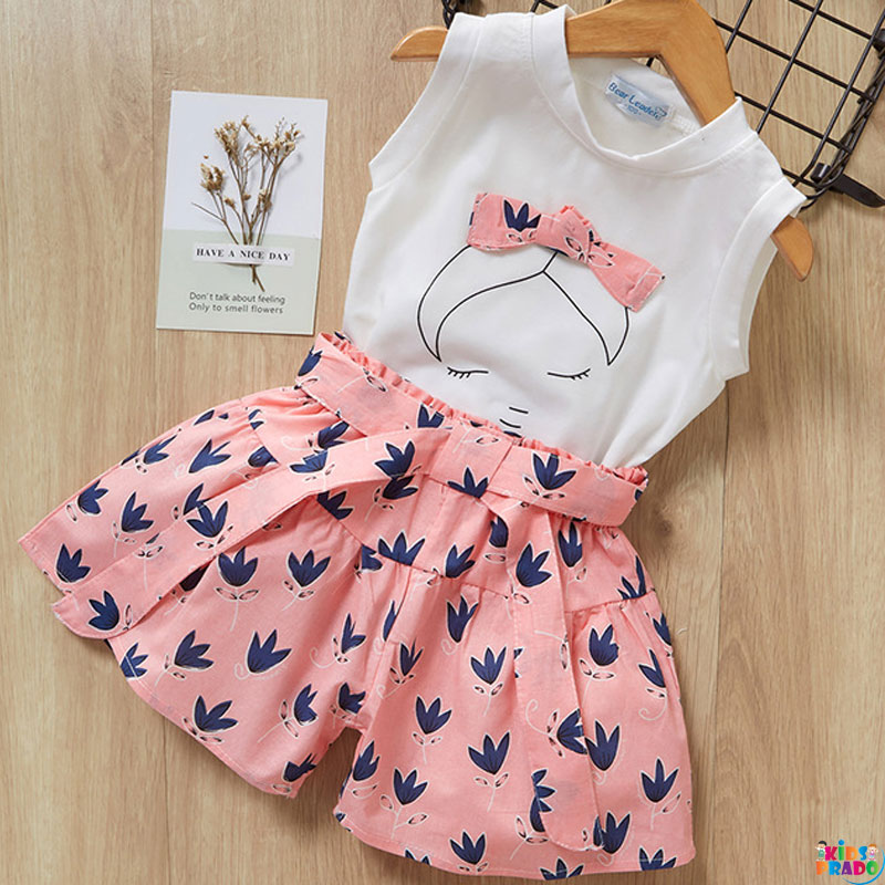 Bear Leader Girls Clothing Sets New Summer Sleeveless T-shirt+Print Bow Skirt 2Pcs for Kids Clothing Sets Baby Clothes Outfits, Clothes for Toddlers