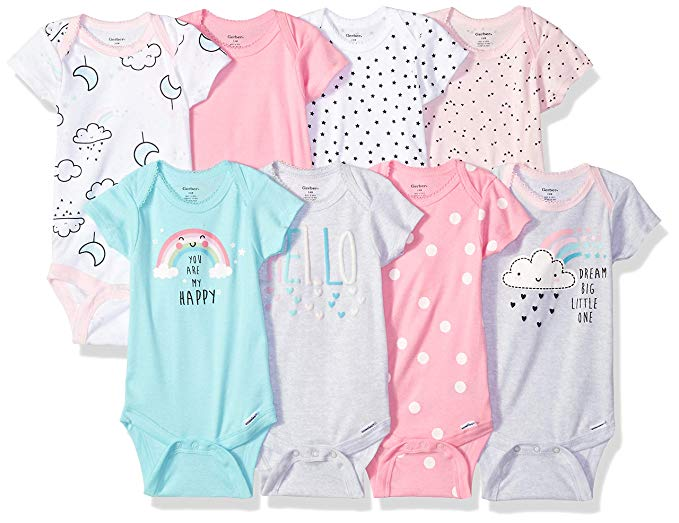 Gerber Baby Girls' 8-Pack Short-Sleeve Onesies Bodysuit
