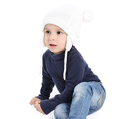 OxsOy Baby Beanie Infant Earflaps Hat Cute Bear Toddler Boys Girls Soft Warm Knit Crochet Hat for Fall Winter