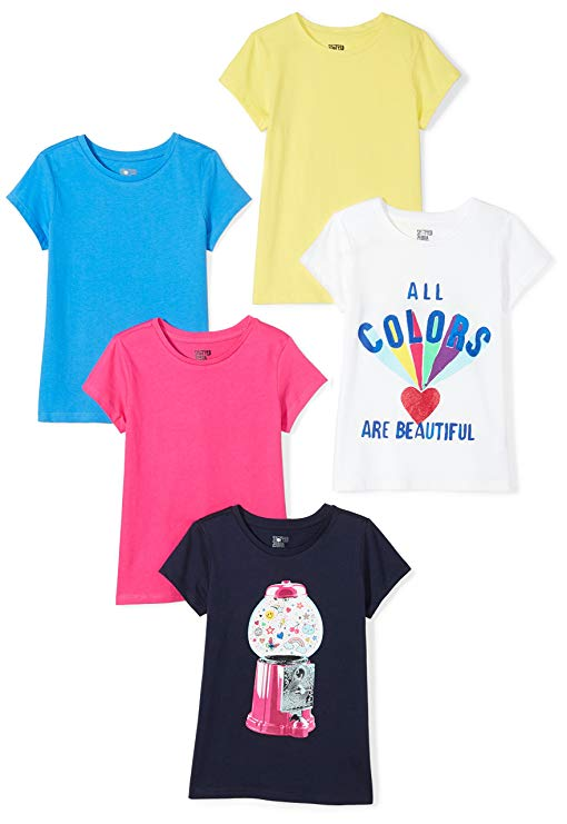 Spotted Zebra Girls' 5-Pack Short-Sleeve T-Shirts