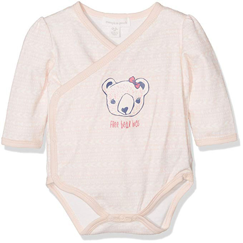 Pumpkin Patch Baby Girls' Bear Hug Cross Over Bodysuit