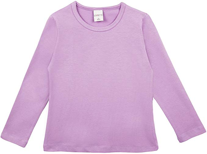 Lovetti Girls' Basic Long Sleeve Round Neck T-Shirt