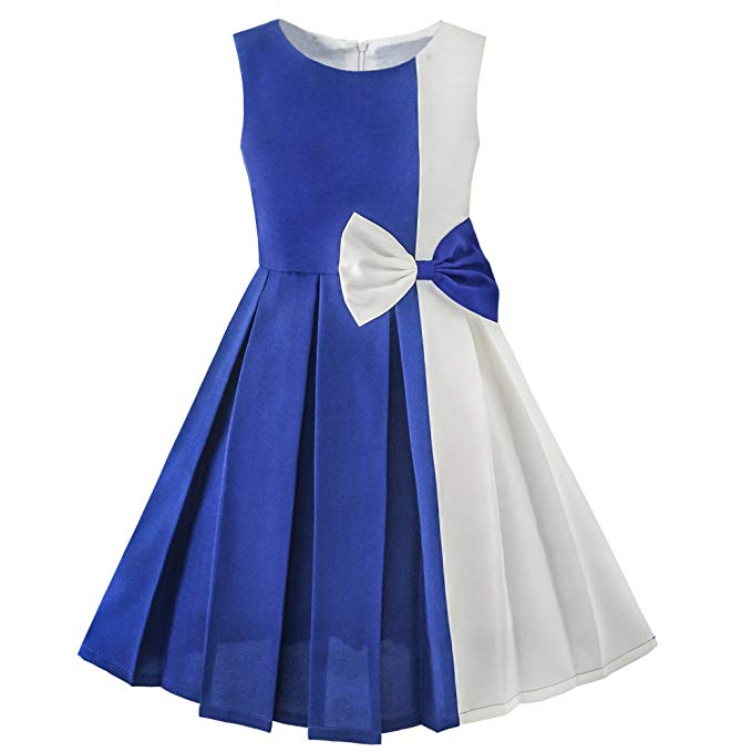 Sunny Fashion Girls Dress Color Block Contrast Bow Tie Everyday Party Size 4-14