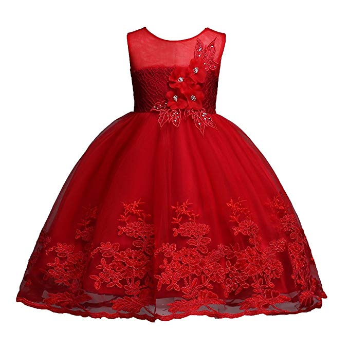 Girls Dress Sequin Lace Wedding Party Flower Dress (1-12 Years )