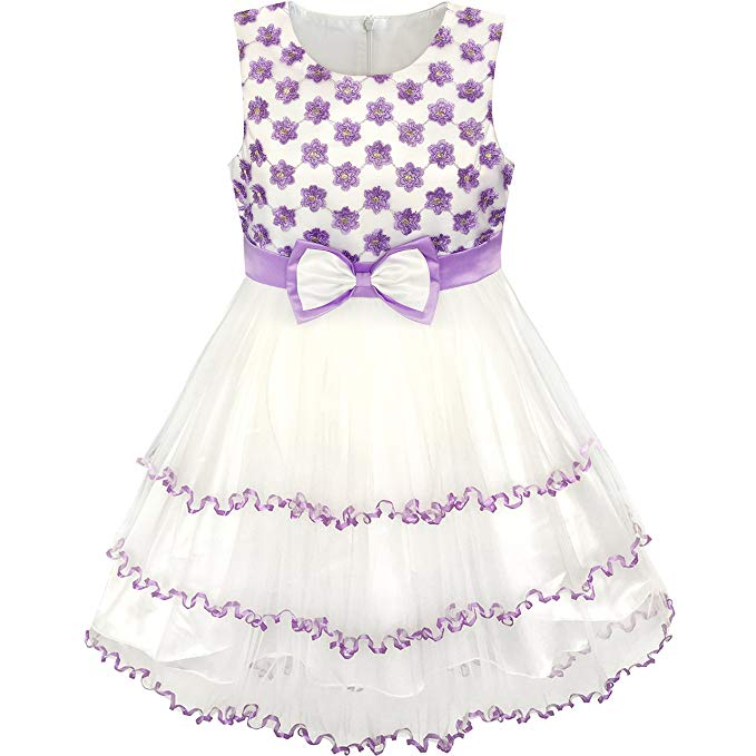 Sunny Fashion Girls Dress Purple Flower White Tulle Pleated Wedding Party