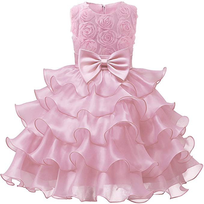 Girl Dress Kids Ruffles Lace Party Wedding Dresses Birthday Party Dresses for Girls, فساتين حفلة عيد ميلاد للفتيات NNJXD