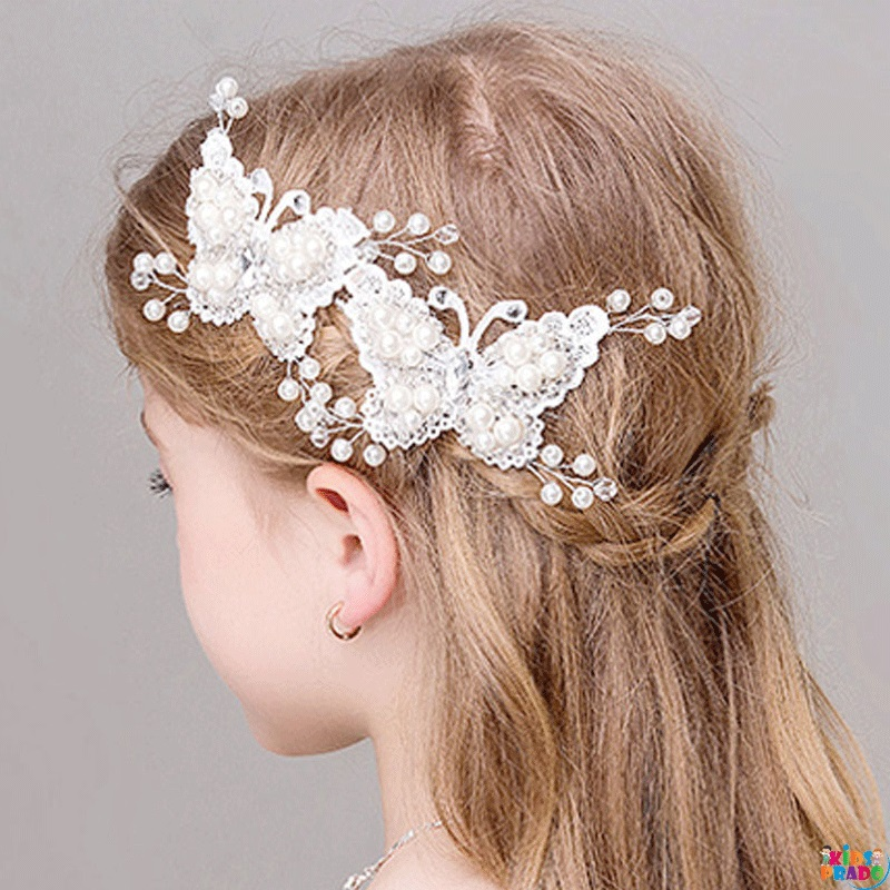 Kid's Hair Clips Sweet Stylish Lace Design Accessories, مقاطع شعر للأطفال