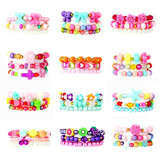 PinkSeep Beaded Bracelets for Kids- 12 Pack 36 PC, Little Girl Plastic Bracelets, Flower Butterfly Pink Bracelet, Party Favor