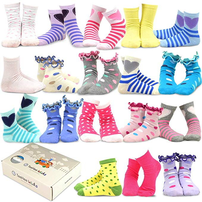 TeeHee (Naartjie) Kids Girls Fashion Variety Cotton Crew 18 Pair Pack Gift Box