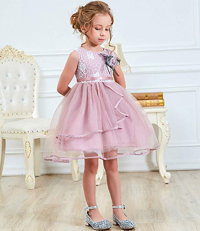 Girls Sleeveless Pageant Princess Party Dress Ruffles Tutu Dresses, فساتين حفل زفاف بلا أكمام