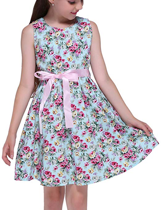 PrinceSasa Kid Floral Cotton Girls Dresses Summer Girl Clothes