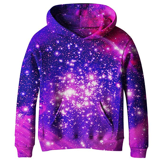 Galaxy Fleece Pockets Sweatshirts Jacket Pullover Hoodies various Graphic 3D Printed, بلوزات مع جيب,