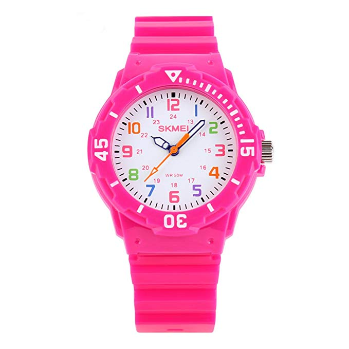 Kids 50M Waterproof Watch,PU Band Wrist Watch for Boys Girls