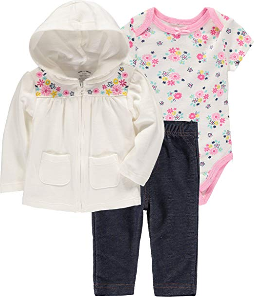 Wan-A-Beez Baby Girls' 3 Piece Hooded Jacket Bodysuit Pant Set
