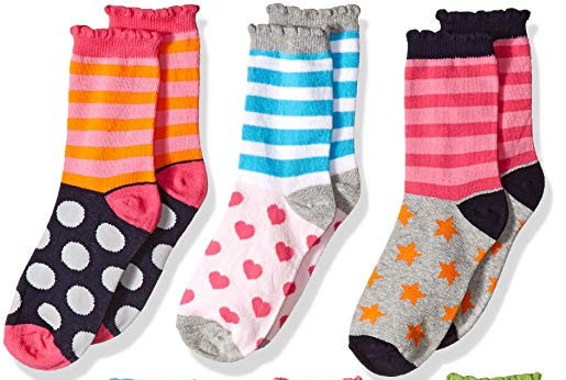 Jefferies Socks Girls' Little Girls' Dots/Hearts/Stripes Fashion Crew socks 6 Pairs Pack