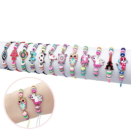 Elesa Miracle 12Pc Women Girl Unicorn Owl Woven Friendship Bracelet Value Set Kids Party Favor Adjustable Bracelet