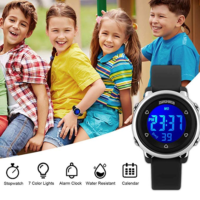 Kids Digital Waterproof Watch for Girls Boys, Sport Outdoor LED Electrical Watches with Luminescent Alarm Stopwatch Child Wristwatch