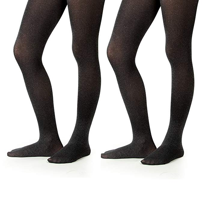 Silky Toes Girls' Microfiber School Winter Opaque Footed Tights (2 Pairs)