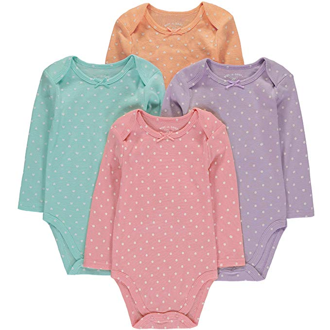 Baby Girls Boys' Long Sleeve Bodysuits 4 Pack