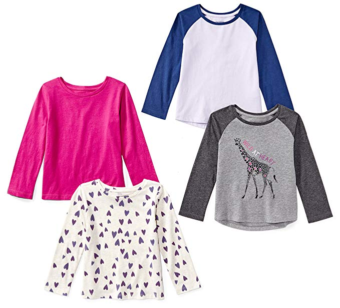 Spotted Zebra Girls' 4-Pack Long-Sleeve T-Shirts