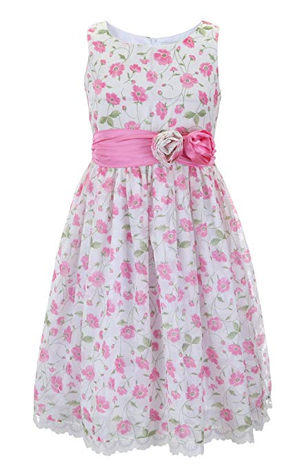 Emma Riley Girls' Flower Dress with Satin Sash and Rosettes