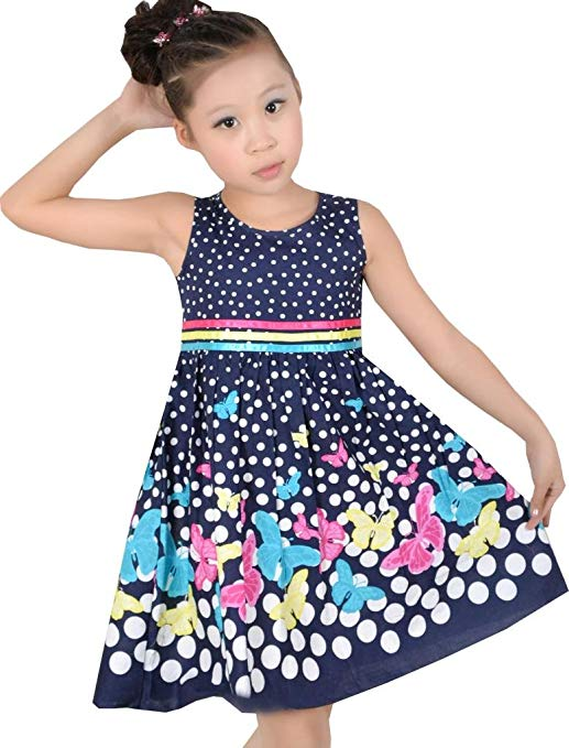 Sunny Fashion Girls Dress Butterfly Party School Child Size 4-12