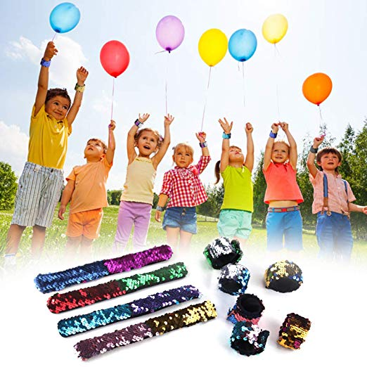 Satkago 24 Pcs Mermaid Slap Bracelets Birthday Party Favors for Kids, Two-Color Decorative Reversible Sequin Bracelets, Great Dance Gymnastics Party Favors, Class Prizes for Kids, Girls, Boys