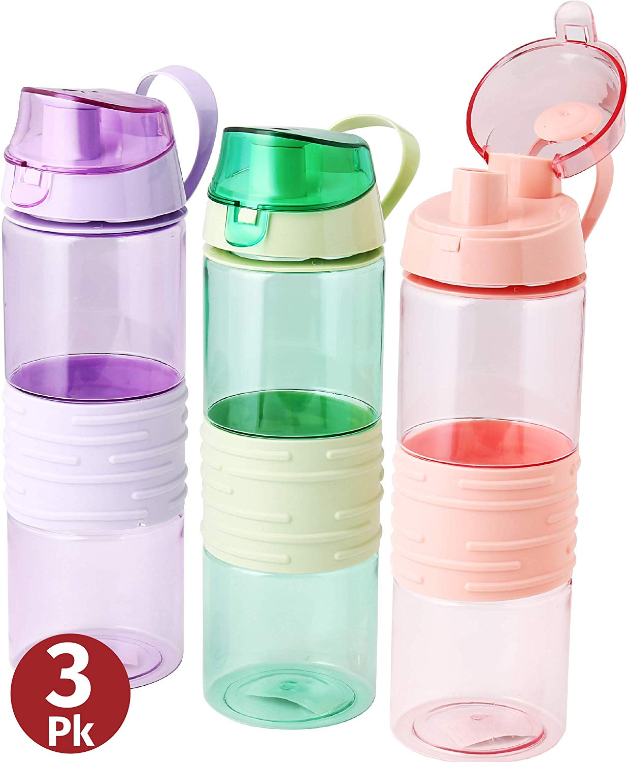 Sports Water Bottle | Kids Reusable Leakproof 25 Oz 3-pack |  Plastic | Wide Mouth | Large Drink Bottle | BPA & Leak Free | With Handle Strap Carrier For Gym Cycling Camping Hiking Yoga