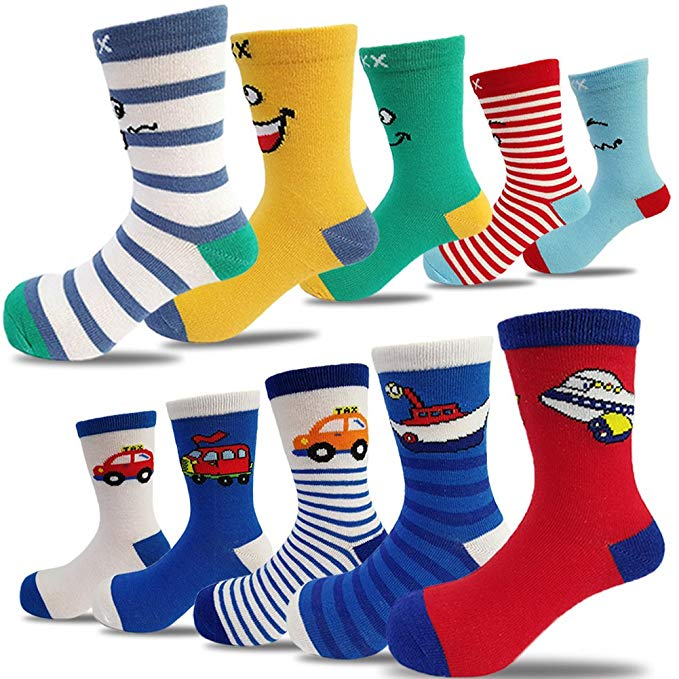 10 Pairs Kids Boys Colorful Novelty Fashion Cotton Crew Socks, Socks for Boys , Boys Socks , Cute Socks for Boys , Socks for babies , Babies Socks , Good Socks for Boys, الجوارب القطنية أزياء الطاقم ، الجوارب,