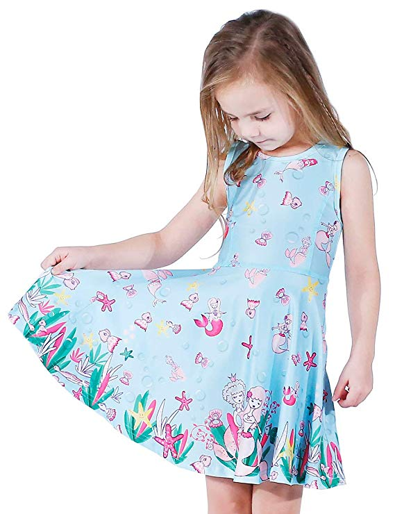 Girl Dress Long Sleeve / Sleeveless Toddler / Little / Big Girls Unicorn Mermaid Dress Kids Casual Dresses