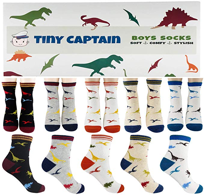 Boys Dinosaur Cotton Crew Sock 5 Pack Set, جوارب للأولاد
