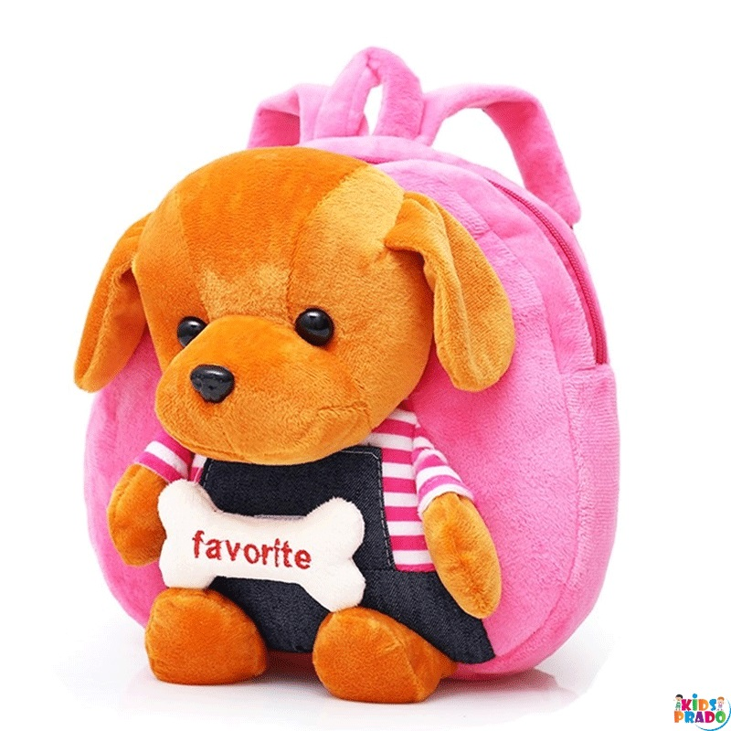 Kid's Backpack Cartoon Plush Dog Decor Cute Fashion Bag, حقيبة مدرسية على ظهره