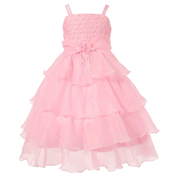 Richie House Girls' Long Dress or Bolero with Pearls Size 3-12Y RH0918