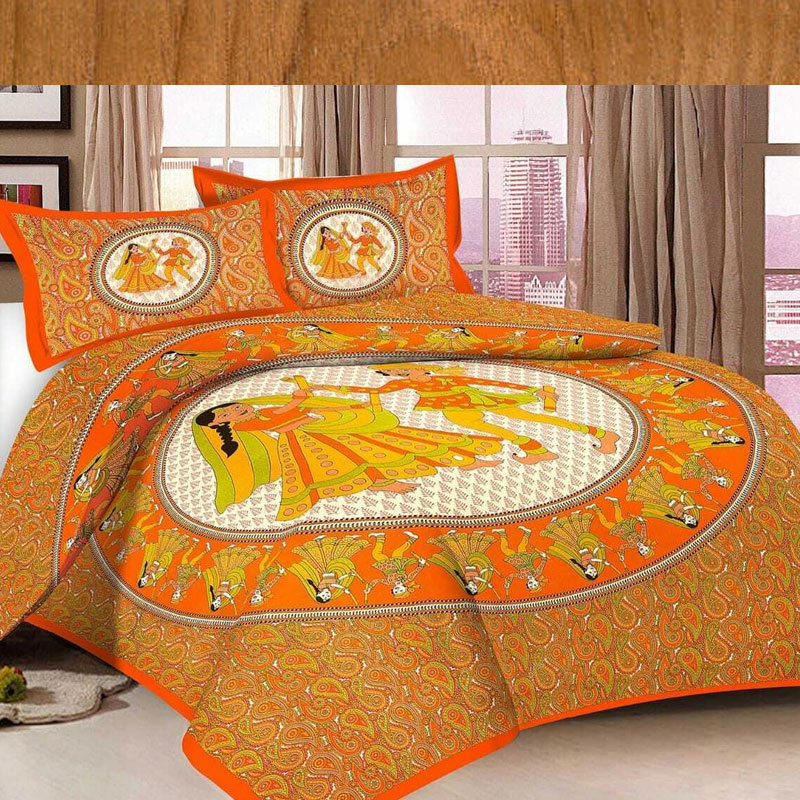 Indian Jaipuri Pure Cotton Double Bed Sheet With 2 Pillow Covers Bedding Set