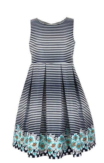 Emma Riley Girls' Satin A-Line Party Dress with Pleats