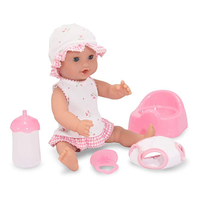 Melissa & Doug Mine to Love Annie 12-Inch Drink and Wet Poseable Baby Doll With Potty, Bottle, Pacifier, Diaper, Dress